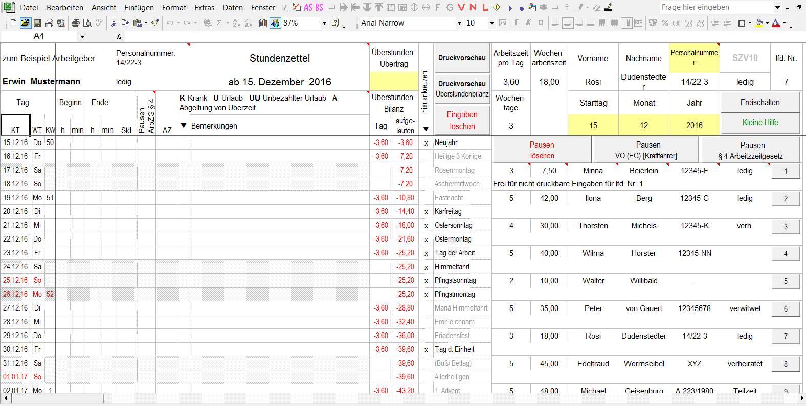 Variabler Stundenzettel in Excel